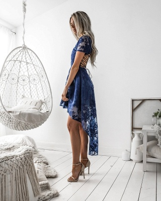 Delicate Lace Short Sleeve Homecoming Dress   Hi-Lo A-line Short Party Gown_4