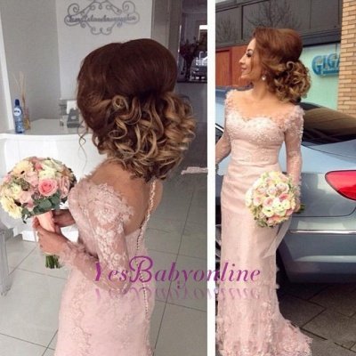 Long-Sleeve Sheer Lace Appliques Buttons Pink Sheath Bridesmaid Dress_1