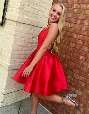 Red Simple Sleeveless V-neck Short A-line Evening Dress_2