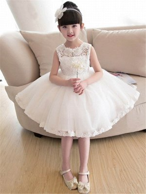A-Line Tulle Lace Straps Knee-Length Flower Girl Dress with Appliques