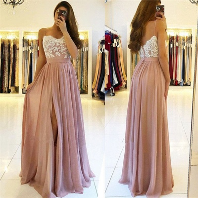Spaghetti-Straps A-line Slit Prom Dresses | Sweetheart A-line Lace Evening Gowns_3