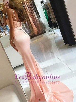 Sleeveless Spaghetti-Strap Lace-Appliques Mermaid Newest Prom Dress_1