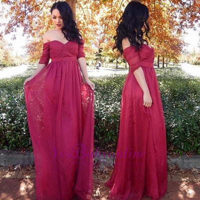 Ruffles Half-sleeve Long Chiffon Off-the-shoulder Cheap Evening Dresses_1