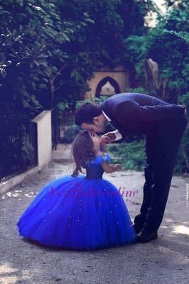 Off-the-Shoulder Royal-Blue Mesh Floor-Length Lovely Flower-Girl Dress_1