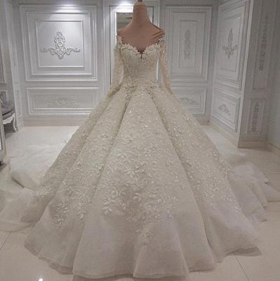 Jewel Long Sleeve Applique Beaded Ruffles Ball Gown Wedding Dresses_2