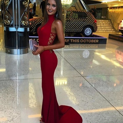 Red Mermaid Prom Dresses High Neck Cutaway Sides Evening Gowns_4