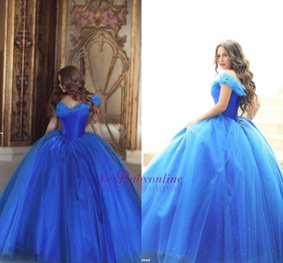 Fairy-Tale Princess Puffy Mesh Off-the-shoulder Ball Gown Blue Glamorous Evening Dress_1