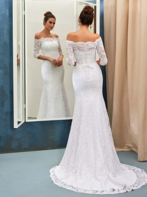Column Half-sleeves Sweep-train Simple Off-the-shoulder Lace-up Wedding Dress_3