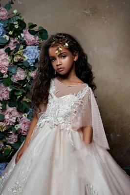 Lovely Princess Flower Girl Dress | Sweep Train A-line Girls Pageant Dress_3