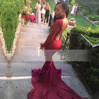 Stunning Long-Sleeve Mermaid Appliques Burgundy Sweep-Train Prom Dress_1