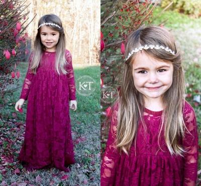Long Cute Flower Sleeves Lace Fuchsia Girl Dresses_3