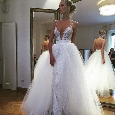 Spaghetti Straps Sheath Lace Wedding Dresses | Bakcless Bridal Gowns with Detachable Tulle Skirt_3