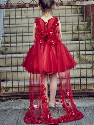Cute A-Line Tulle V-Neck Beading Knee-Length Flower Girl Dress_3