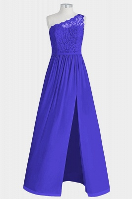 A Line Chiffon Lace One Shoulder Floor Length Bridesmaid Dresses with Slit_4