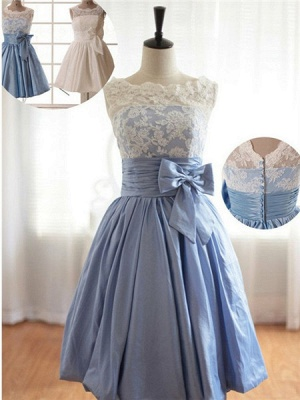 Cap Sleeves Flower Girl Dresses | Scoop Lace Neck Bowknot Lovely A Line Satin Pageant Dress_1
