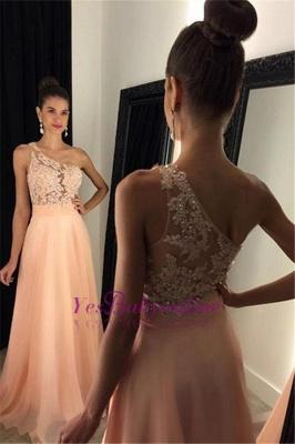 Appliques Gorgeous One-Shoulder Lace A-line 2019 Prom Dress_1