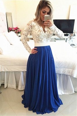 White and Blue Prom Dresses Long Sleeves Pearls  A-line Evening Gowns_1