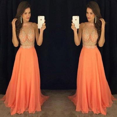 Gorgeous Beads A-line Sweep-Train Sleeveless Prom Dress_3