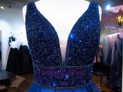 V-Neck Beadings Navy Sleeveless A-line Elegant Evening Dress_4