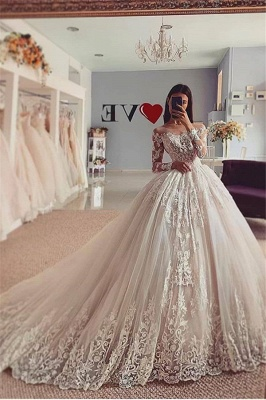Unique Jewel Long Sleeve Ball Gown Lace Wedding Dress_1