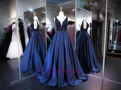 V-Neck Beadings Navy Sleeveless A-line Elegant Evening Dress_1