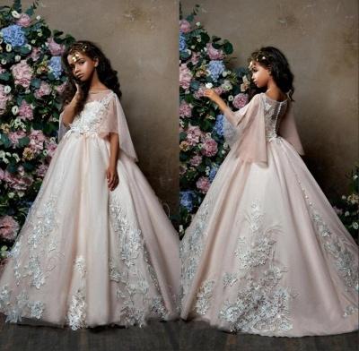 Lovely Princess Flower Girl Dress | Sweep Train A-line Girls Pageant Dress_5