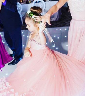 Lovely Spaghetti Straps Flower Girl Dresses   Flowers Tulle Long Pageant Dresses For Kids_1