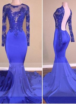 Open-Back Sheer Mermaid Long-Sleeves Shiny Royal-Blue Prom Dresses_2