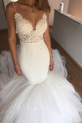 Sexy Mermaid Lace Wedding Dresses  | Cheap V-neck Straps Open Back Bridal Gowns  with Tulle Train_1