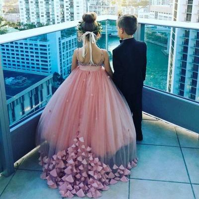 Lovely Spaghetti Straps Flower Girl Dresses   Flowers Tulle Long Pageant Dresses For Kids_4
