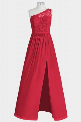 A Line Chiffon Lace One Shoulder Floor Length Bridesmaid Dresses with Slit_3