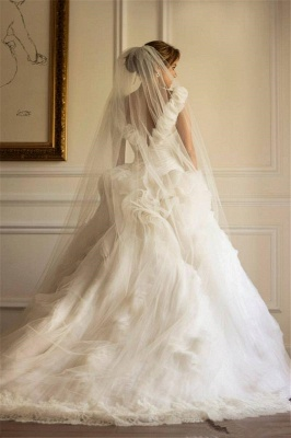 Tulle Sweep Train Ruffles A-line Modern Off-the-shoulder Flowers Wedding Dress_3