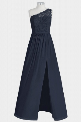 A Line Chiffon Lace One Shoulder Floor Length Bridesmaid Dresses with Slit_1