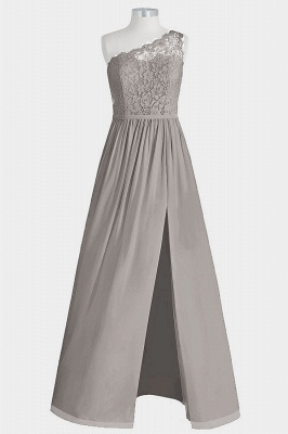 A Line Chiffon Lace One Shoulder Floor Length Bridesmaid Dresses with Slit_5