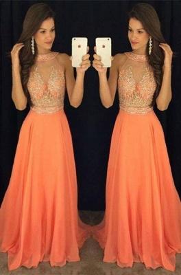 Gorgeous Beads A-line Sweep-Train Sleeveless Prom Dress_2