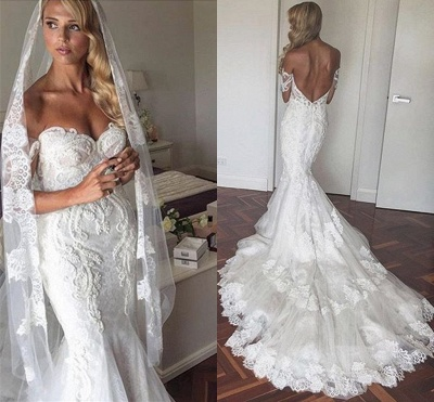 Off-the-Shoulder Lace Tiers Backless Mermaid Wedding Dresses_3