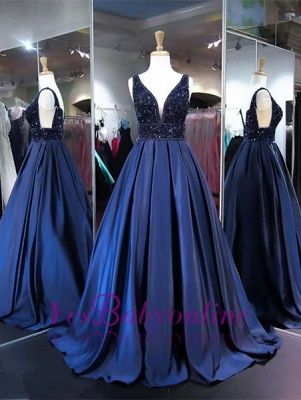 V-Neck Beadings Navy Sleeveless A-line Elegant Evening Dress_2