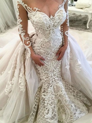 Glamorous Mermaid Lace Long Sleeve Overskirt Wedding Dresses