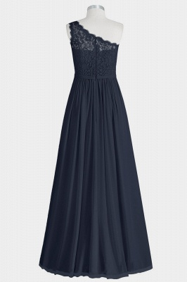 A Line Chiffon Lace One Shoulder Floor Length Bridesmaid Dresses with Slit_2