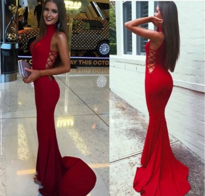Red Mermaid Prom Dresses High Neck Cutaway Sides Evening Gowns_3