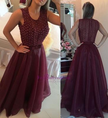 O-neck Pearls Sheath Modern Organza Burgundy Evening Dresses_3