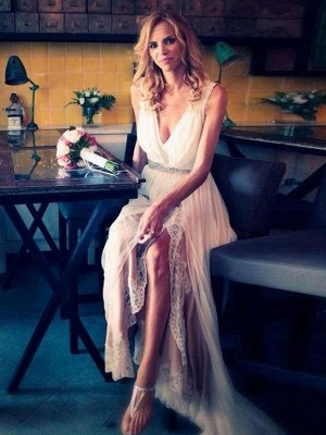 Modern A-Line Chiffon Lace Wedding Dress | V-Neck Sleeveless Front-Split Floor-Length Bridal Dress with Beadings_1