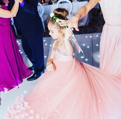Lovely Spaghetti Straps Flower Girl Dresses   Flowers Tulle Long Pageant Dresses For Kids_3