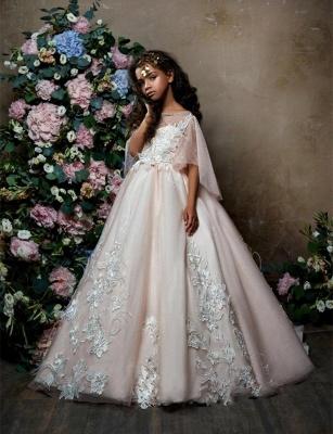Lovely Princess Flower Girl Dress | Sweep Train A-line Girls Pageant Dress_1