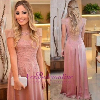 Floor-length Short-sleeves Appliques Sheath-Column Evening Dress_1