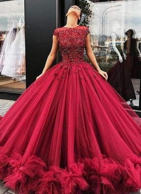 Ball-Gown Scoop Short-Sleeves Burgundy Luxury Prom Dresses_2