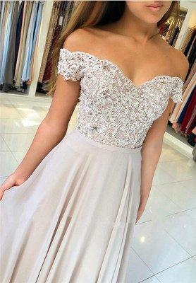Off-the-Shoulder  Long Elegant Lace-Appliques Prom Dress_2