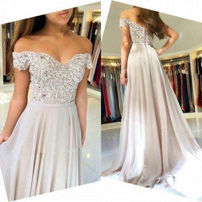Off-the-Shoulder  Long Elegant Lace-Appliques Prom Dress_3