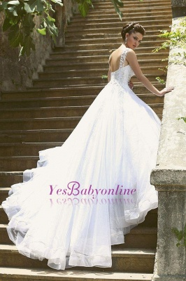 Charming Straps Beaded Ball-Gown Lace-Appliques Wedding Dresses_1