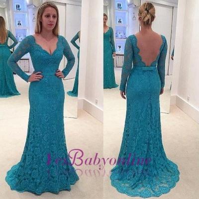 Open-Back Long-Sleeves V-Neck Lace Mermaid Prom Dresses_1
